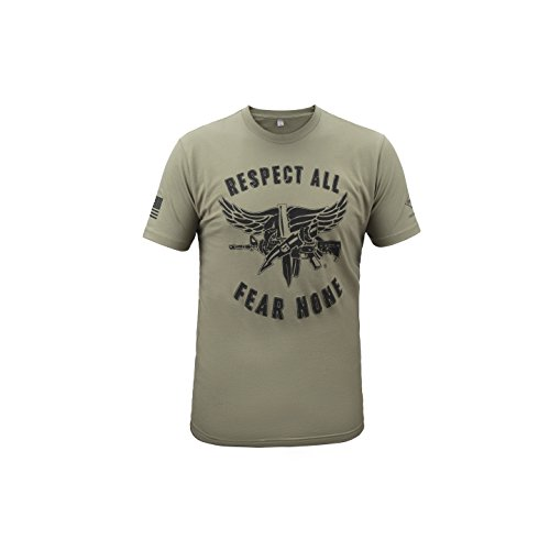 T-Shirt SWAT Operator Respect All/Fear None - Black/OD Green Large