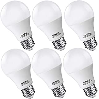 A19 LED Light Bulbs 60 Watt Equivalent, SANSUN 3000K Soft White, Non-Dimmable, 6-Pack