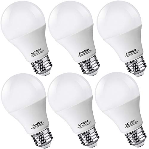 (A19 LED Light Bulbs 60 Watt Equivalent, SANSUN 3000K Soft White, Non-Dimmable, 6-Pack)