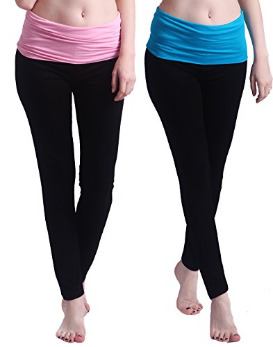 HDE 2-Pack Women's Maternity Yoga Stretch Pants Fit & Flare Foldover Pregnancy Leggings (Black With Pink & Blue Waist Band) by HDE