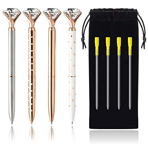 4 Big Diamond Pens Rose Gold & Silver - 4 Black Ink Refills & Cute Velvet Gift Bag, Top Cool School & Bling Office Supplies for Women Girls Coworker, Fancy Crystal Jewel Writing Ballpoint Pen Bulk Set