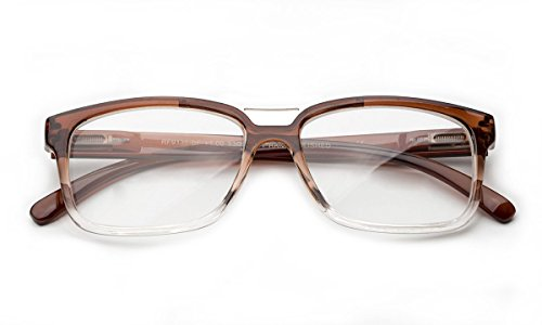 Newbee Fashion - Pozo Slim Squared Modern Design Fashion Clear Lens Glasses Brown/Clear