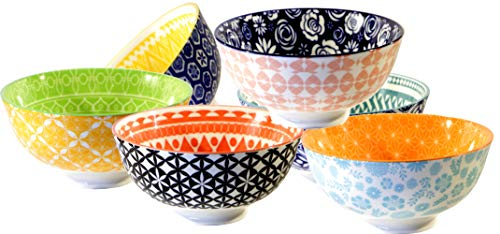 Annovero Dessert Bowls - Patterned Colorful Mix and Match Porcelain Dessert Bowl Set for Snacks, Soup, Rice, Side Dishes, or Ice Cream, 1.25 Cup Capacity, Set of ()