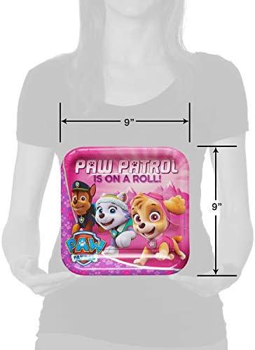 American Greetings Paw Patrol Pink Dinner Plates Paper, 23cm