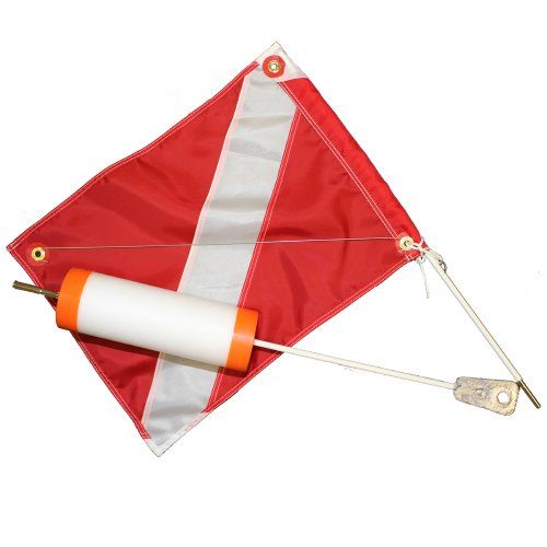 (JCS Foam Dive Float with 14inch x 18inch Nylon Dive Flag, Orange Caps)