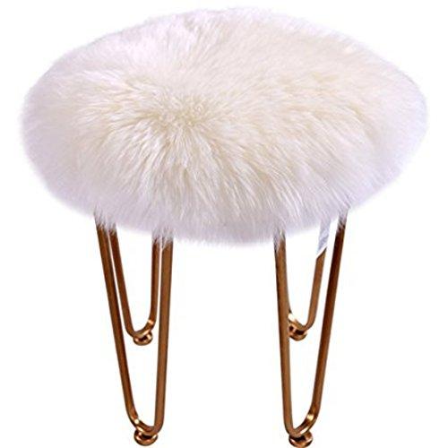 FurFurug Faux Sheepskin Area Rug Fluffy Carpet Rug Long Plush Wool Fur Chair Car Seat Cover Cushion Pad Home Decorative, Diameter 2 Feet,White (Chair Shaggy)