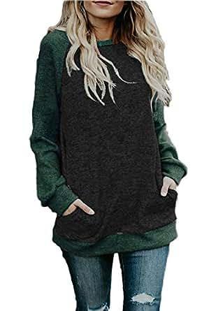CHYRII Womens Color Block Raglan Long Sleeve Lightweight Tunic Sweatshirt Tops - - Small