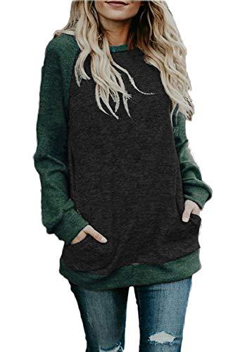 CHYRII Plus Size Sweatshirt for Women 2X Contrast Color Long Sleeve Tunic Tops Black + Green XXL