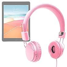 "DURAGADGET Pink Ultra-Stylish Kids Fashion Headphones For Apple iPad / iPad 2, 3, 4 / iPad Mini, Mini 2, Mini 3 / iPad Air, Air 2, Maxi / iPad Pro 9.7"" & 12.9"" / Apple MacBook Pro - With Padded Design, Button Remote And Microphone"