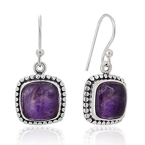 925 Sterling Silver Amethyst Gemstone Dotted Edge Vintage Square Dangle Hook Earrings 1.2