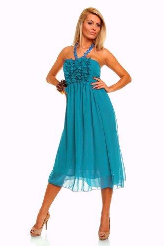 Neckholder kleid turkis