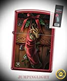 2424 Anne Stokes Dragon in Stocking Candy Apple Red Lighter with Flint Pack - Premium Lighter Fluid (Comes Unfilled) - Made in USA!