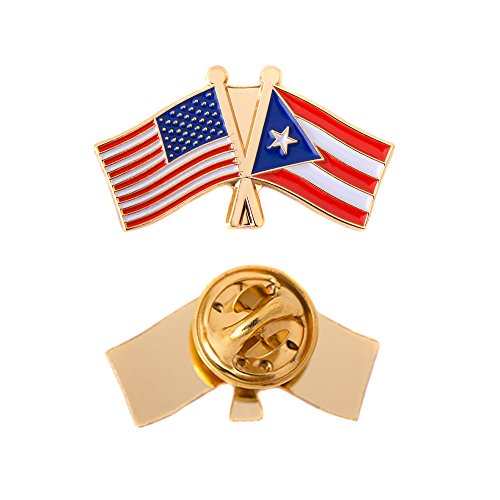 Puerto Rico State Double Flag Lapel Pin Enamel with United States USA US Souvenir Hat Men Women Patriotic (Double Flag Pin) ()