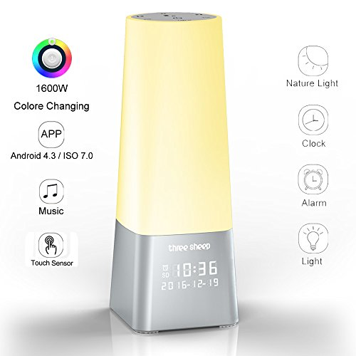three sheep Wake Up Light Alarm Clock, Sound and Lighting Sleep Therapy Machine, APP 1600M Dimmable Color Changing, Bedside Lamp with Timing Function and MP3 Player Night Light(Silver)