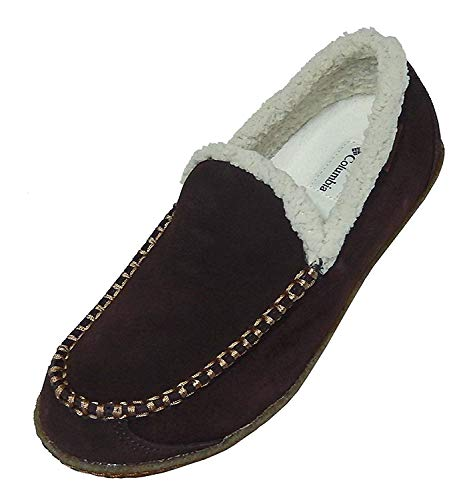 Columbia Mens Big Sky Moc Faux Fur Slippers Boat Shoes (9 D(M) US, Hawk/Elk) (Columbia Packed Out)