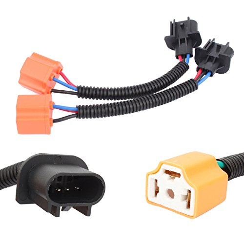 TOMALL H13 9008 Male to H4 9003 Female Ceramics Retrofit Extension Wiring Harness Socket Adapter for Jeep Wrangler JK TJ LED Headlight Conversion Kit 12cm(5inch) ()