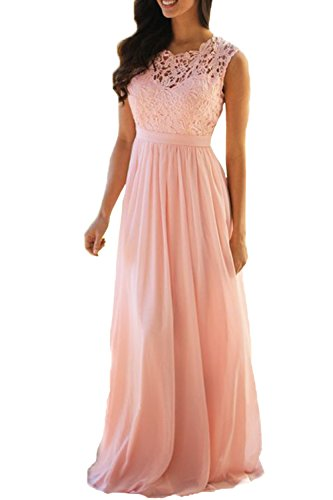 Elegant Pink Lace (Honey Qiao Blush Lace Bridesmaid Dresses Long Chiffon A Line Prom Party Gowns)