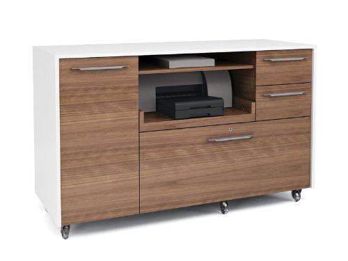 BDI 6320 Series Format Mobile Credenza - Satin White/Natural Walnut by BDI Furniture