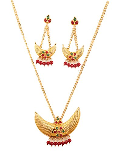 NEW! Touchstone Indian Bollywood Crescent Theme Half Moon Theme Faux Ruby Emerald Classic Look Designer Jewelry Pendant Set In Gold Tone For -