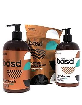 Basd, Organic Body Lotion, Body Wash, Arabica Coffee Scrub, Face and Body, Natural Skin Care, Vegan, Hypoallergenic, Invigorating Mint, 3 Pack