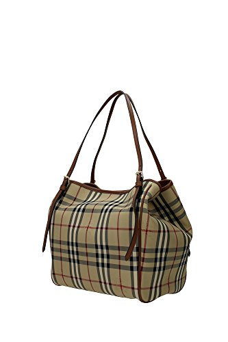 250345dbd114 Burberry Women s  Small Canter  Horseferry Check Tote Bag with Equestrian  Saddle Straps Honey Tan