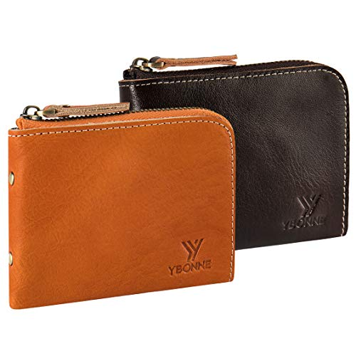 Handmade Italian Leather - YBONNE Small Corner Zipper Wallet for Men and Women, Handmade with Italian Vegetable Tanned Leather