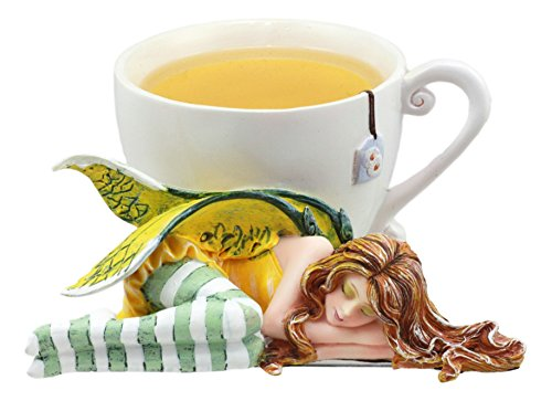 Ebros Amy Brown Healing Herb Chamomile Tea Cup Sleeping Fairy Statue Sweet Addictions Festive Figurine Collectible