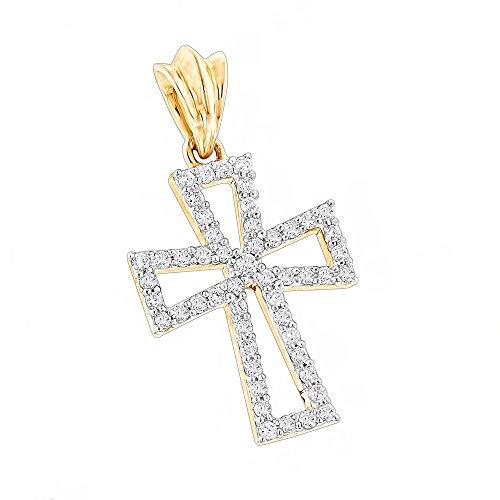 Unisex Small 10K Gold Designer Natural 0.2 Ctw Diamond Cross Pendant (Yellow Gold)