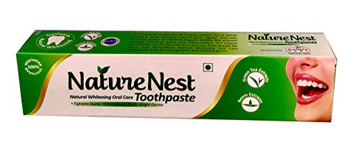 Nature Nest Herbal SLS Free Vegan Toothpaste - Natural Vegetarian Himalayan Green Tea & Neem Extracts, Peppermint oil, Spearmint Oil, Clove Oil, Aniseed Oil, Calcium Carbonate - Also Kids Friendly - Tea Green Toothpaste