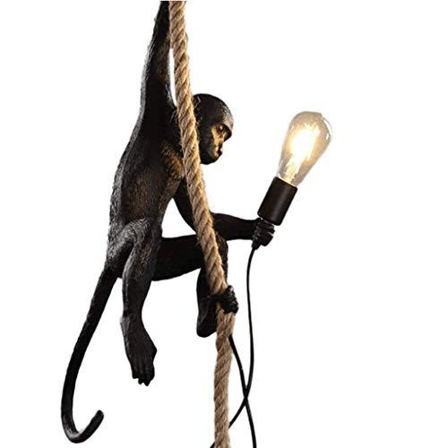 Table Lamps Nightstand Lamp Creative LOFT Industrial Monkey Chandelier Resin Cafe Bar Hemp Rope Ceiling Light Living Room Pendant Hanging Lamps (Color : Black) (Monkey Lamp Bedside)