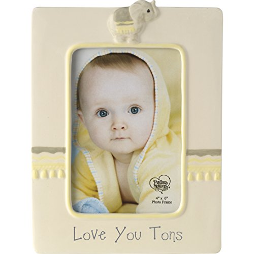 Precious Moments Love You Tons Ceramic Elephant Photo Frame, Gray Chevron (New Home Blessing Basket)