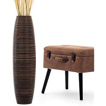 Leewadee Tall Big Floor Standing Vase For Home Decor, 8x30 inches, Wood, brown