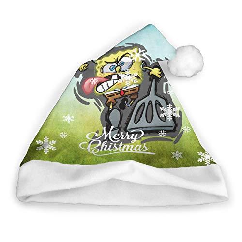 PSnsnX Christmas Santa Claus Hats SpongeBob SquarePants Classic Cap Adult Kids Velvet Xmas Party Decoration Comfort ()