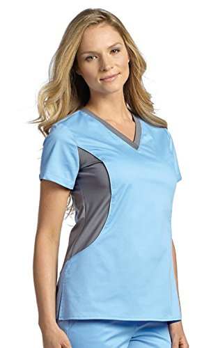 - Allure by White Cross Women's Contrast Jersey Neck Solid Scrub Top Medium Bonnie Blue