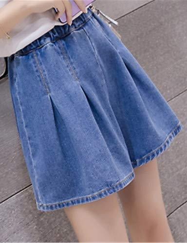 YFLTZ Pantalones Jeans básicos para Mujeres - Color sólido Blue