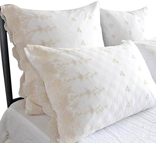 Standard Lace Pillowcase (Queen's House Ivory Lace Shabby and Chic Pillowcase Cotton Pillow Shams Set of 2-Standard,White)