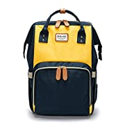 Abear Diaper Bag Backpack Waterproof Travel Mummy Nappy Bags, Large Capacity and Multi-Function Back Pack Organizer with Baby Insulated Pockets (Navy Blue&Yellow)