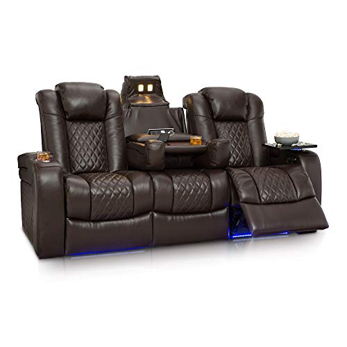 Leather Table Storage Media - Seatcraft Anthem Home Theater Seating Leather Multimedia Power Recline Sofa with Fold-Down Table, Adjustable Powered Headrests, Storage, AC/USB and Wireless Charging and Cup Holders, Brown