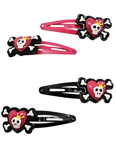 Heart & Skull Snap Hair Clips (Four Pack)