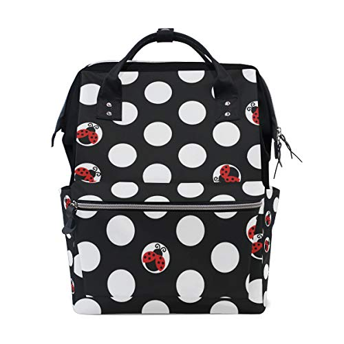 - DERLONKAJE Large Capacity Baby Diaper Bag Ladybug Dot Durable Multi Function Travel Backpack