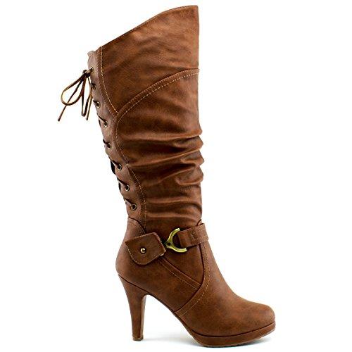 Boots Knee up Moda Women's Tan Top High Premier Lace Heel wUI0xEq