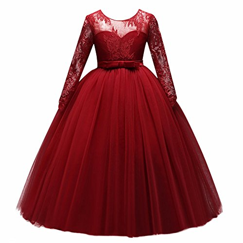 IBTOM CASTLE Flower Girl Junior Bridesmaid Long Sleeve Lace Party Wedding Formal Dance Gown Princess Sweetheart Dress Dancewear Costume Red 12-13 (Girls Red Heart Princess Costumes)