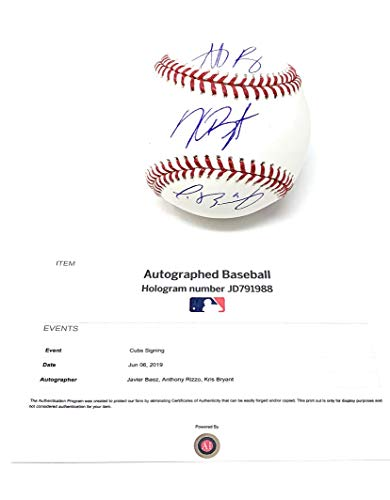 Kris Bryant Anthony Rizzo Javier Baez Chicago Cubs TRIPLE Signed Autograph Official MLB Baseball MLB Authentic Certified