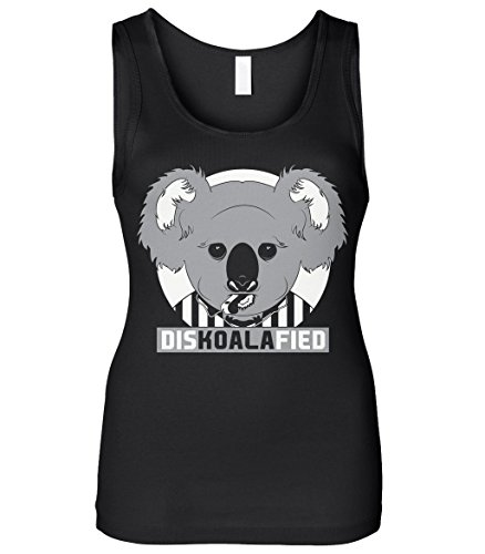 Cybertela Women's DISKOALAFIED, Koala Bear Referee Slim Fit Tank Top (Black, Medium)