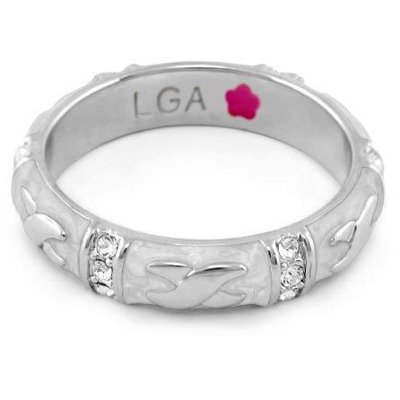 Lauren G Adams Rhodium-Plated Stackable Elegant Hugs Ring with Beige Enamel