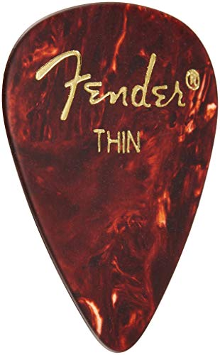 - Fender 351 Shape Classic Thin Celluloid Picks, 12 Pack, Shell for electric guitar, acoustic guitar, mandolin, and bass