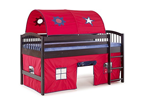 Alaterre AJLA10P0 Dylan Espresso Junior Loft Bed with Red/Blue Tent and Playhouse