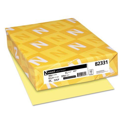 Wausau Paper Products - Wausau Paper - Vellum Bristol Cover Stock, 67lb, Canary Yellow, Letter, 250 Sheets/Pack - Sold As 1 Pack - Durable semi-smooth cover for mediumweight to heavyweight applications. - Makes a bright, durable report cover. - Get organized with color coding.
