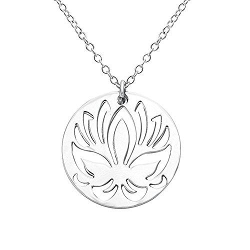 - NOUMANDA Lotus Flower Metal Abalone Shell Necklace Pendants, Fashion Pendants (Hollow Necklace)