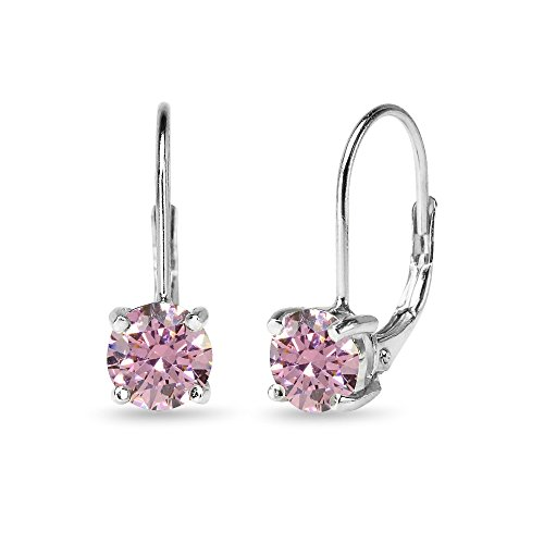 Sterling Silver Fancy Pink Round-cut Leverback Earrings Made with Swarovski Zirconia by GemStar USA